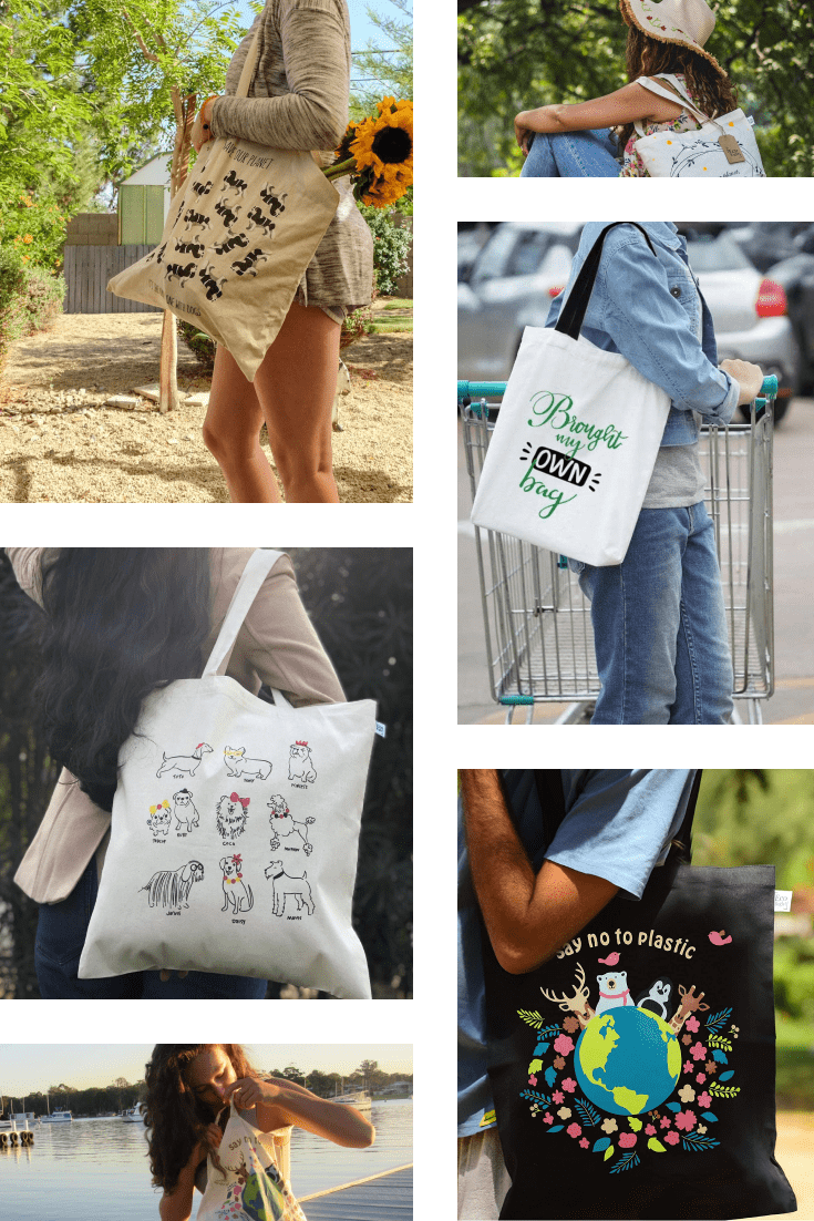 Eco-bag with a variety of prints and inscriptions.