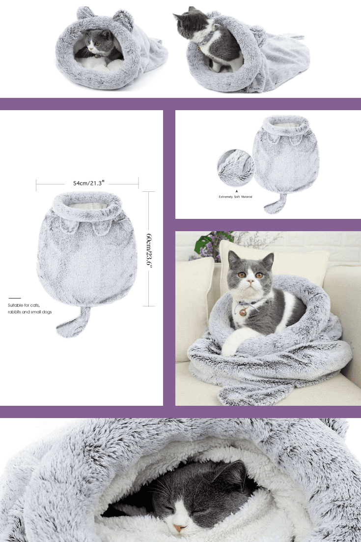 Warm, fleece, gray and white sleeping bag for your pet. He will warm up in it and will sleep all night, even in March.