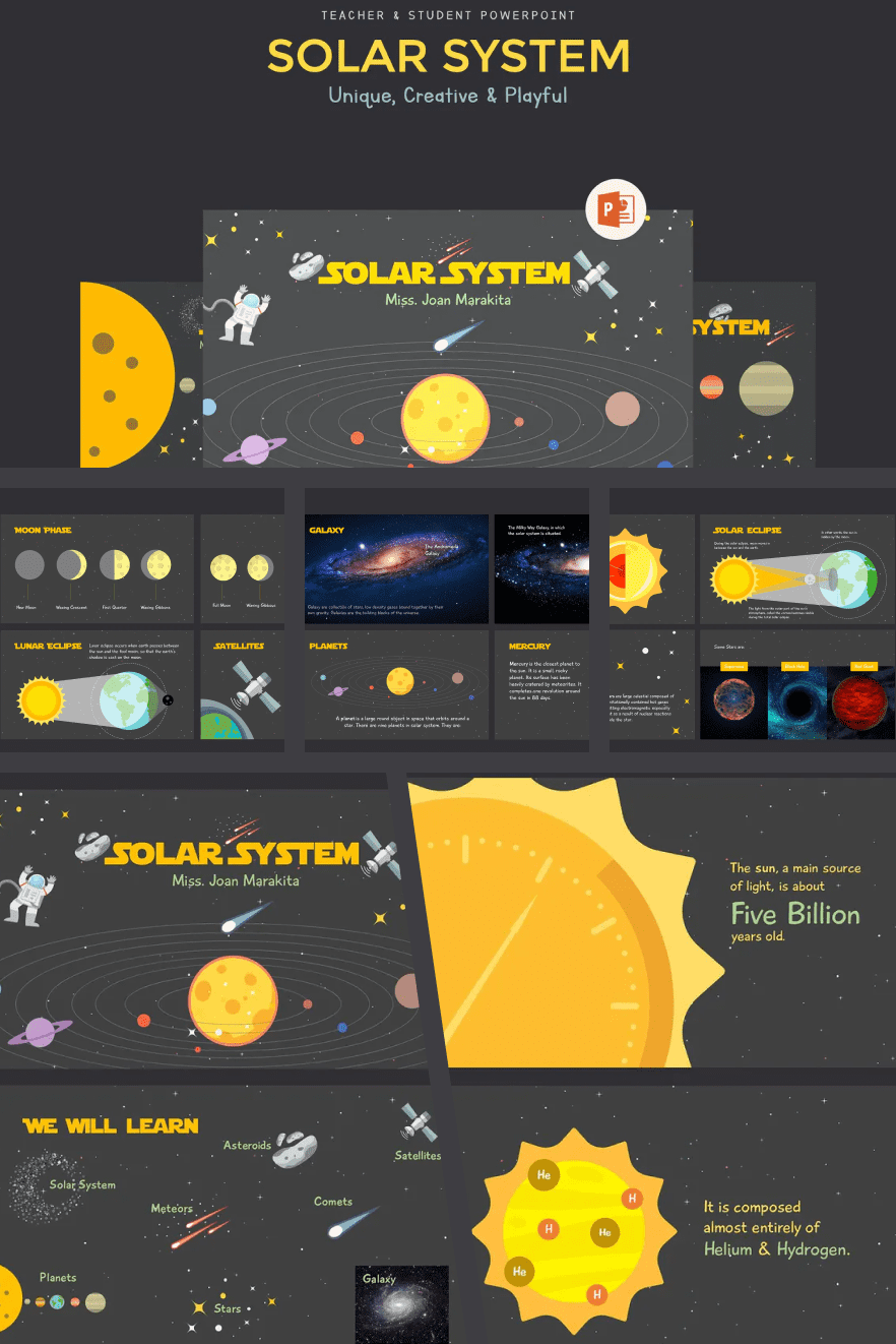 Bright template on the theme of the solar system. The gray-yellow scale makes the presentation stylish and attractive at the same time. This is a great option for more information flow.