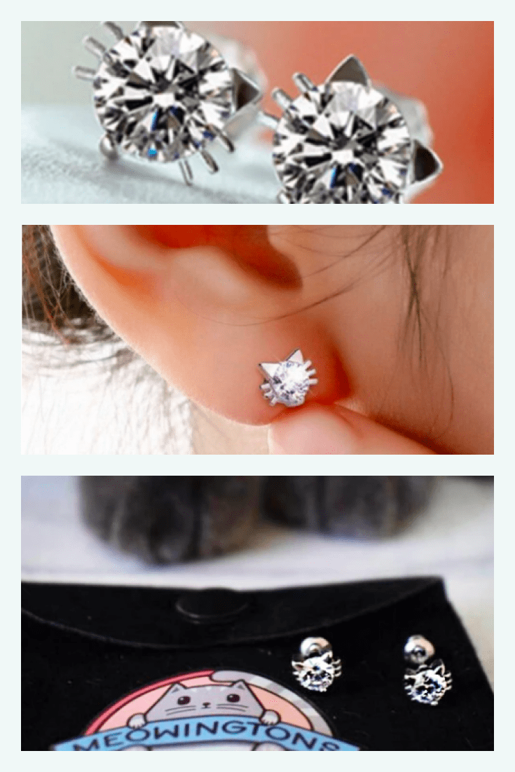 Earrings-buttons with a cat's face, cut with diamonds are a winning gift for every lady.