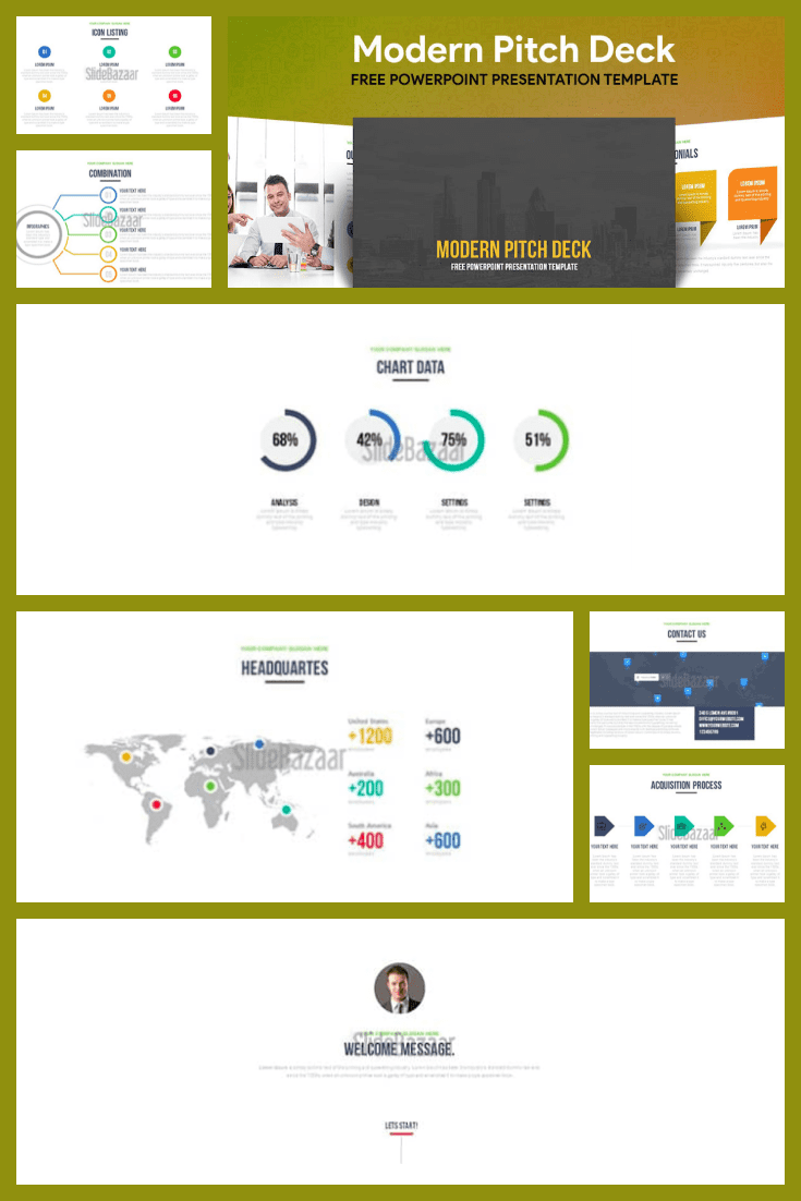 Olive gradient and versatility make this template unique. He is able to fit text, graphics and infographics in himself and do it all stylishly and appropriately.