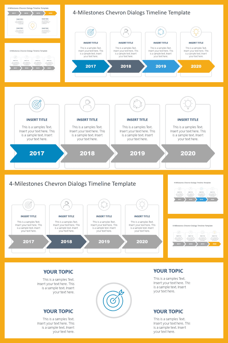 An excellent template for presenting the stages of project development, initial and new goals.
