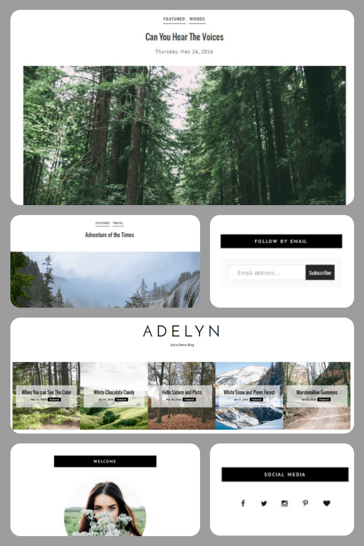 This layout is like a breath of fresh air. Minimum colors, Convenience of blocks and stylish appearance. This template is a super solution for a hiking or travel blog.