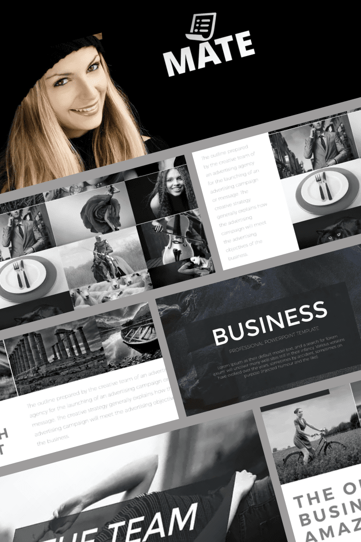 The black and white scale of the template adds sophistication and mystery. It is suitable for different areas of business, as it has a universal design.