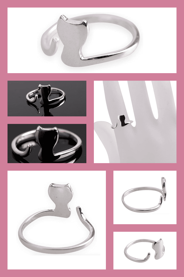 A ring in silver color that follows the shape of a cat. It will be a great addition to your look.
