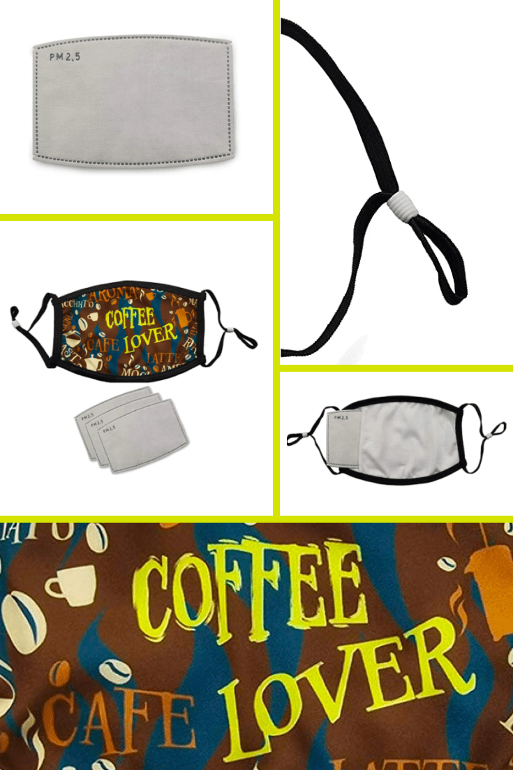 The current accessory in 2021 is the face shield. For coffee lovers, a special design has been created with unique colors and lettering.