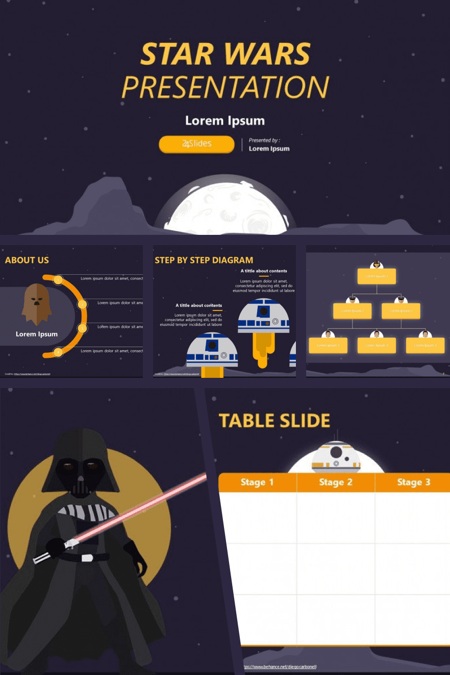 A graphically rich and simple at the same time theme with a darth vader in the center. Perfect for presentations with specific steps.