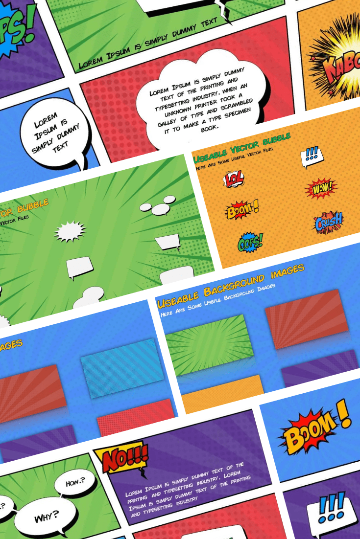 The template is created in comic format. Your audience will be pleasantly surprised by what they see. Bright colors, custom shapes ...This template is ideal for storytelling.