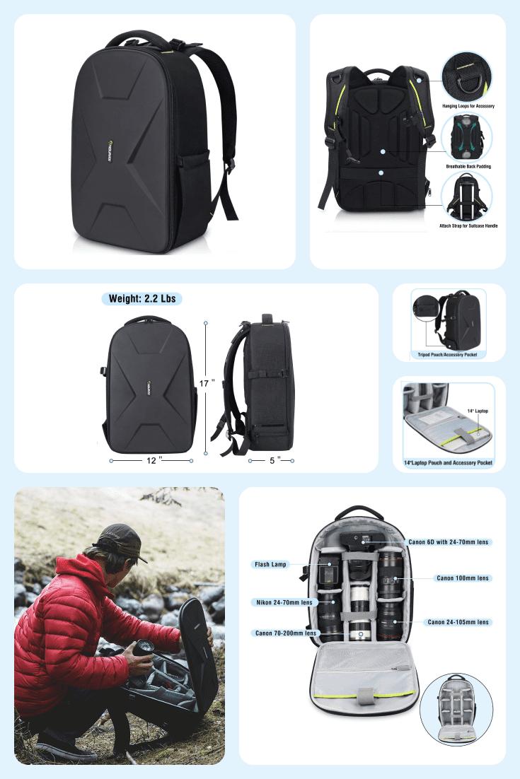 Black comfortable roomy backpack for equipment.