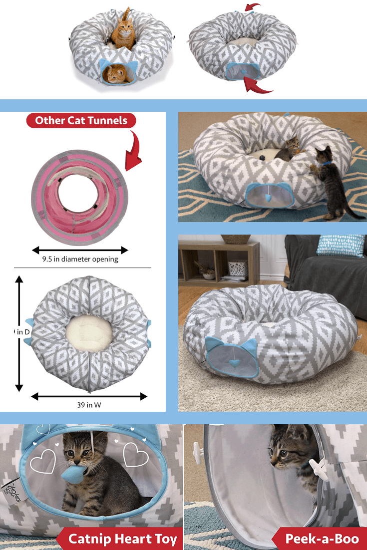 Special round play tunnel for your cat. It will be interesting for both kittens and adult cats.