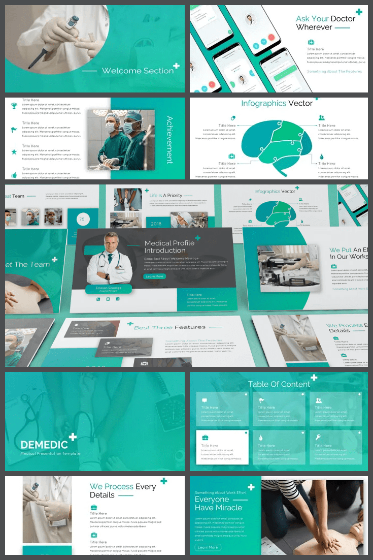 The template is based on a mint palette that spreads in a gradient throughout the presentation. You can switch between dark and light themes and customize your entire presentation. The template is designed for a large number of blocks, so it is suitable for verbose.