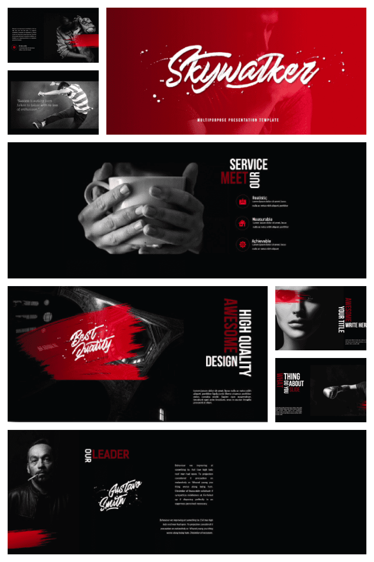 Black and red. Almost according to Stendhal. This template is about a story that you will tell.