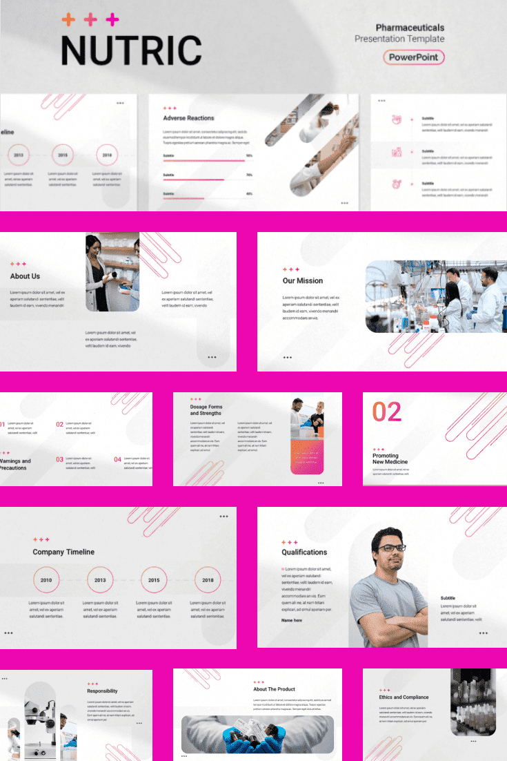 Fuchsia color is suitable only for the bold and extraordinary. The template has a prominent block structure, thanks to which information is systematized.