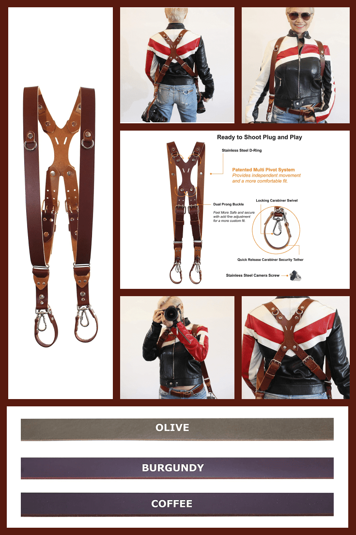 Brown leather straps for attaching the camera and other shooting accessories.