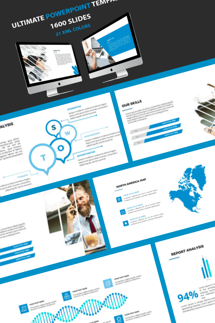 Blue-gray is a classic color combination. Flexible design makes it possible to adapt the template to your style. This theme won't make you a star, but it will help you get the message across in an easy way.