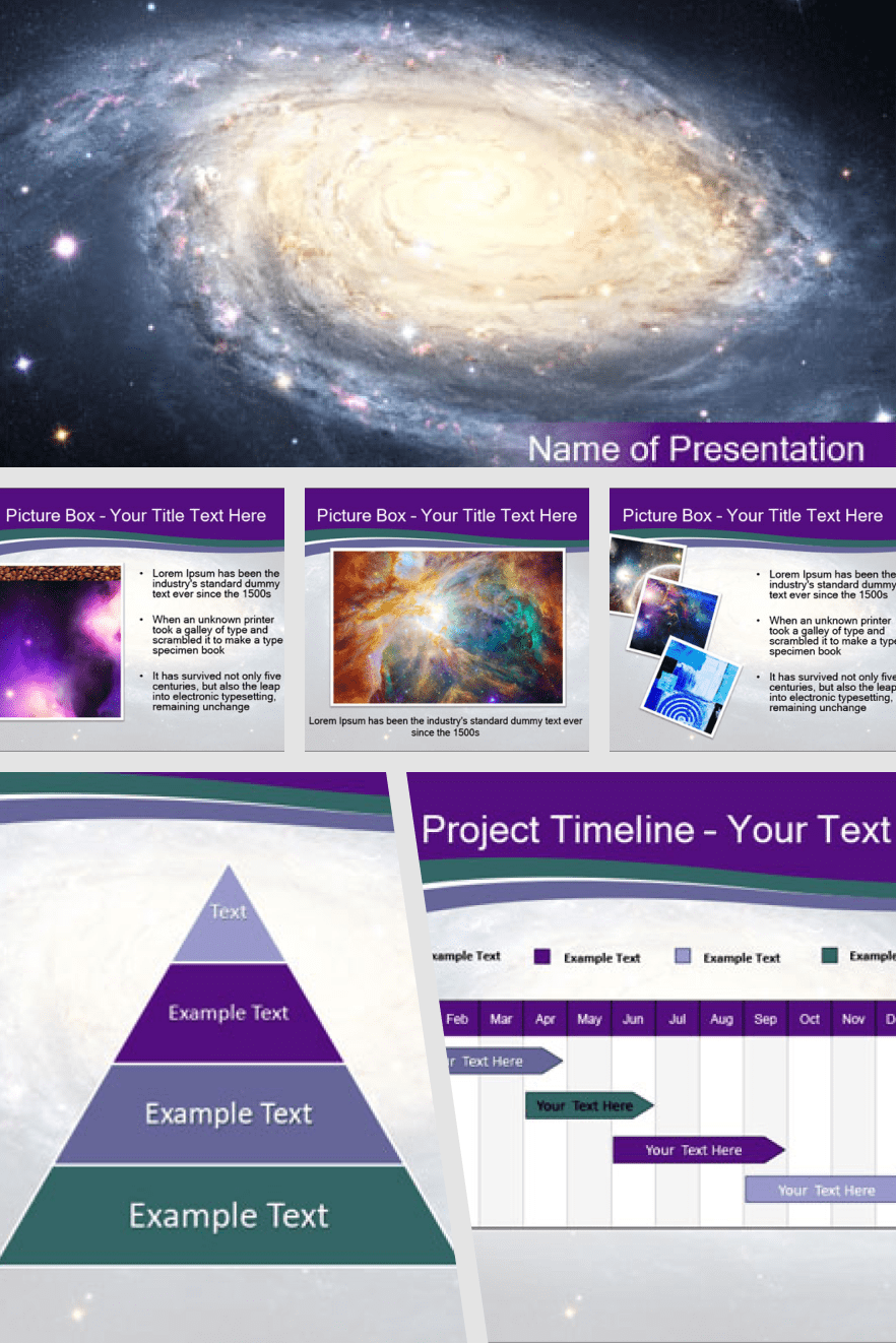 Space template. The dominant color is purple, which adds tranquility and harmony to the theme. Most of the information should be provided in infographic format, which will make it easier for the audience to reproduce.