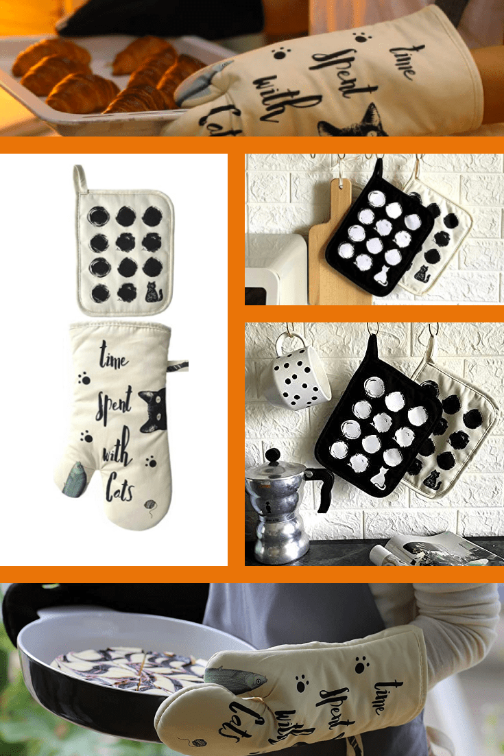 For real housewives and cat lovers, this is a godsend gift. Mittens for hot items are a necessary thing in the kitchen.