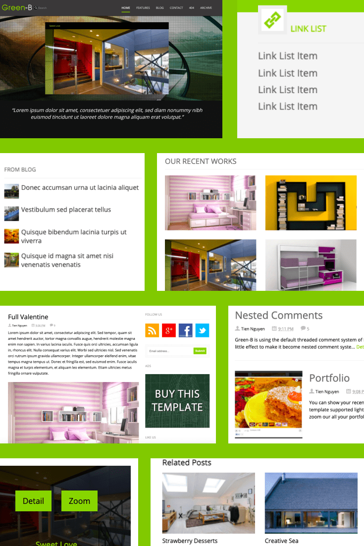There is never too much green. A high-quality template with a flexible design to suit completely different themes.