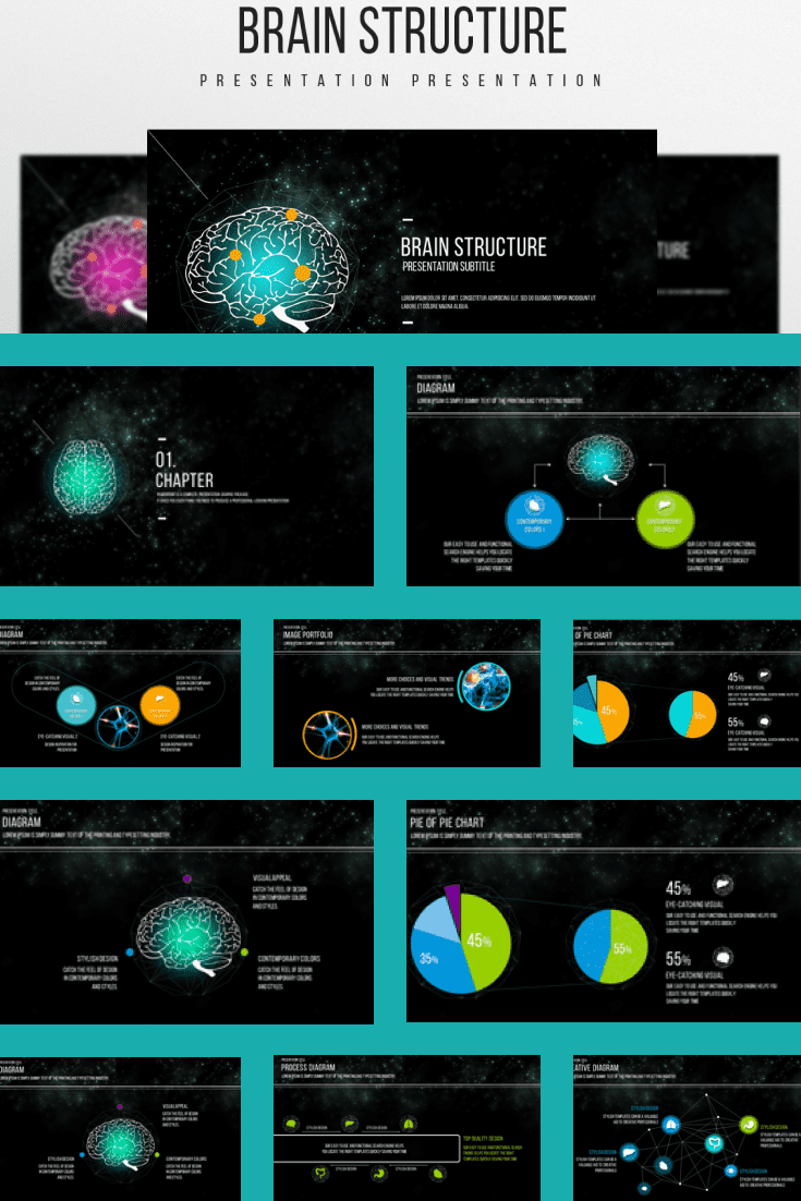 Dark theme with turquoise bezels. There is not much text here, but a lot of infographics. Stylish template.