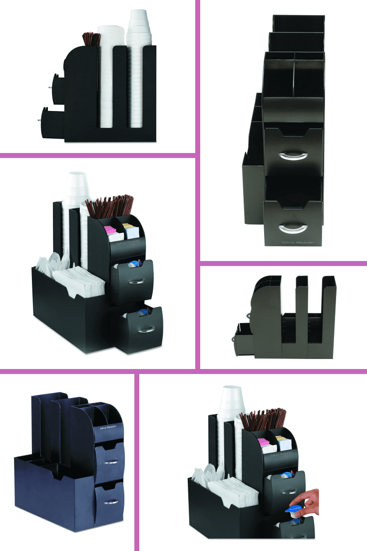 Compact and convenient organizer for storing equipment and various accessories for preparing coffee. An excellent optimization option.