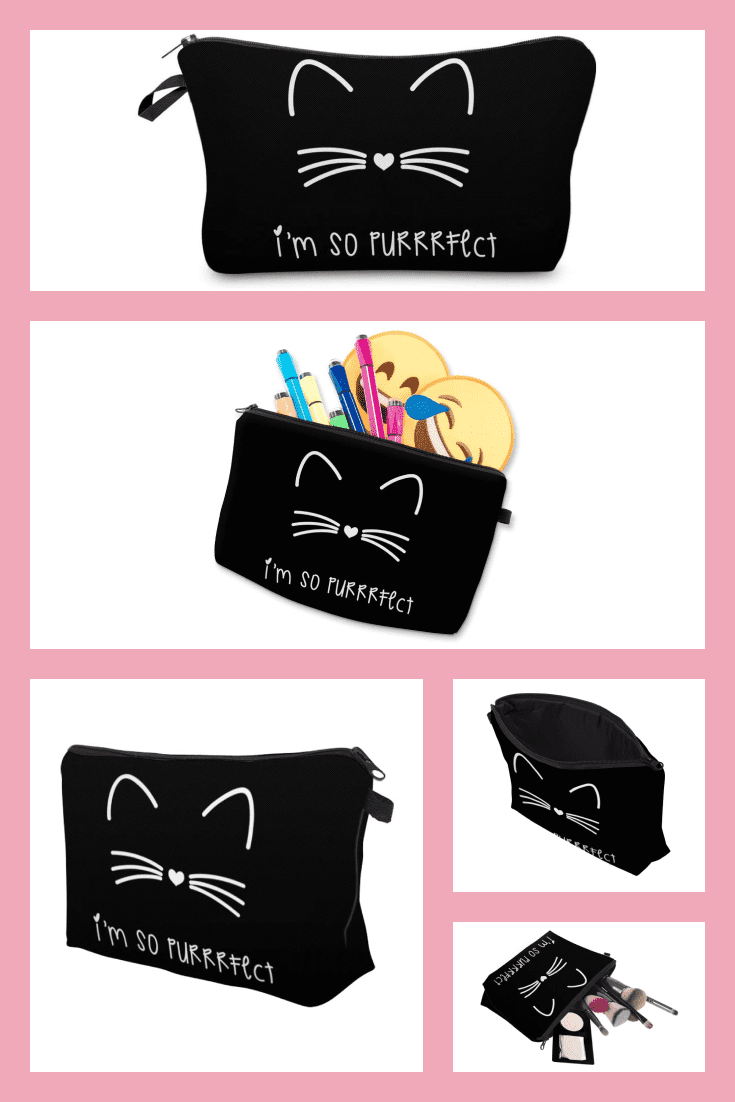 There are never too many beauticians. A black background with the outline of a cat's face will be a good gift.