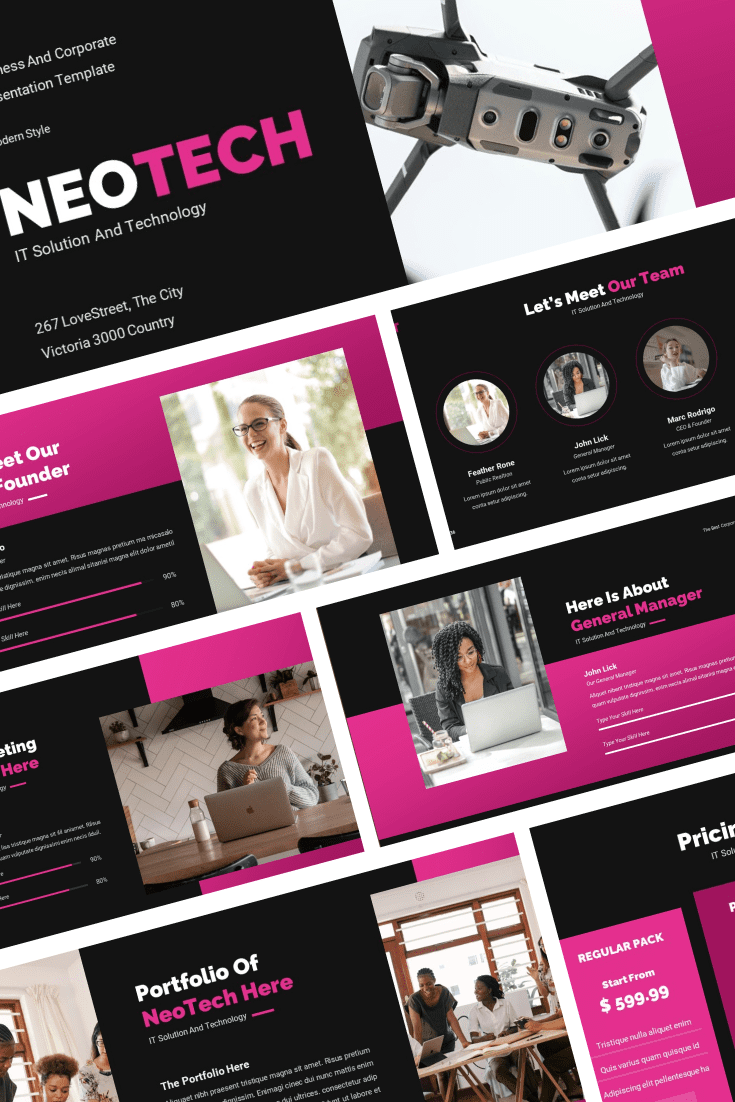 The template is made in black and pink color, which makes it modern and cheerful. Despite its color scheme, it is perfect for technical reports, as it will dilute the main material with colors.