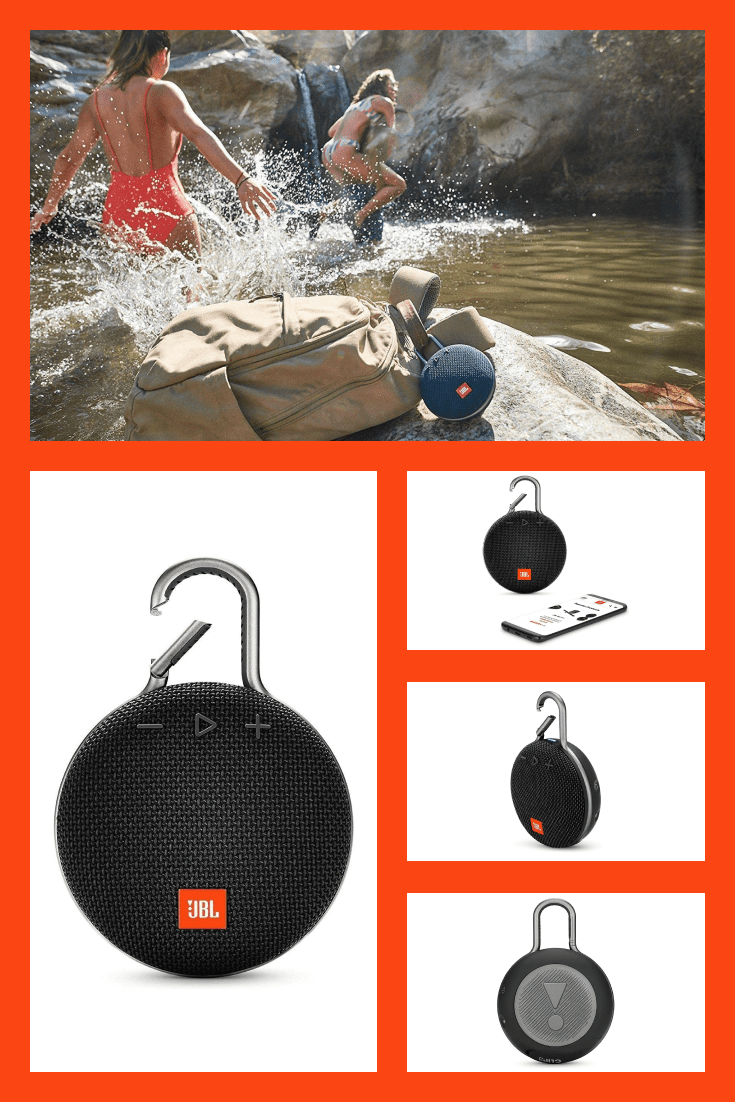 A small portable speaker that is secured with a lock.