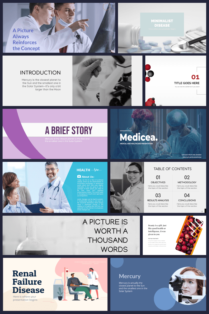 Pinterest picture- it is a collage of major themes for the medical field.