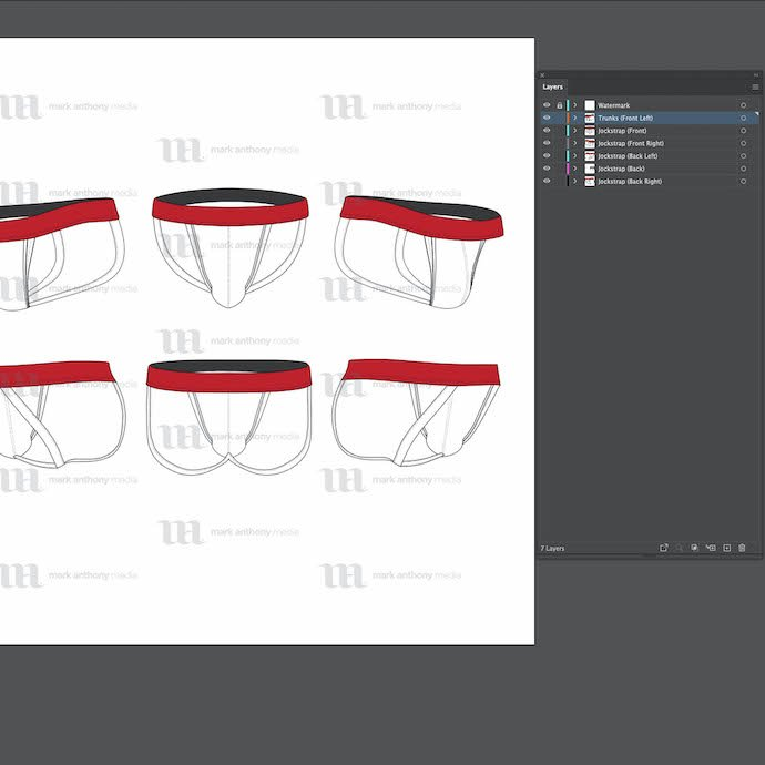 General view of the template - Jockstrap - Vector Mockup Template. You can choose any extension to download.