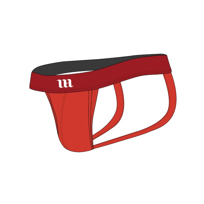 Red Jockstrap with a logo.