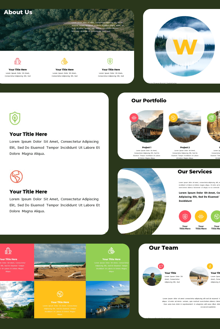 Nature PowerPoint Template and Google Slide Theme – Bonus: Keynote Template. Collage Image.