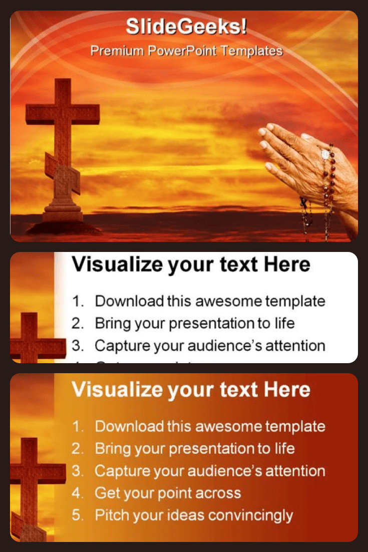 Cross In The Sky Religion PowerPoint Templates And PowerPoint Backgrounds. Collage Image.