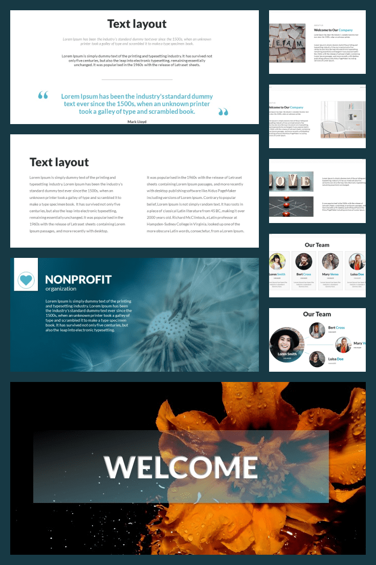 Multipurpose Nonprofit PowerPoint Presentation Template. Collage Image.