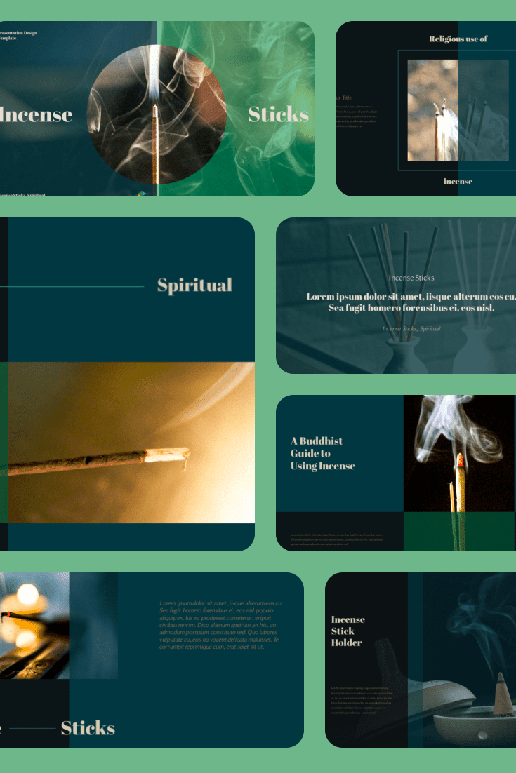 Incense Sticks PPT Format. Collage Image.