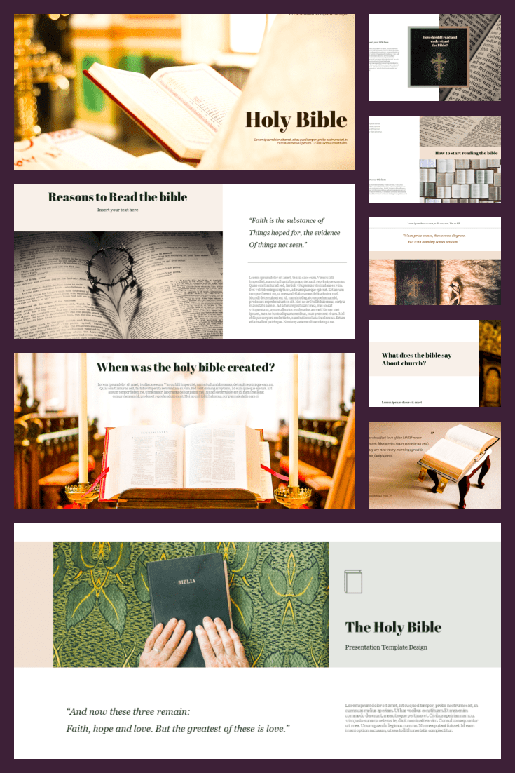 Holy Bible PPT Format. Collage Image.