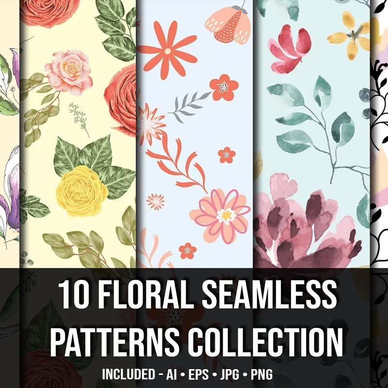 10 Floral Seamless Patterns Collection. Main