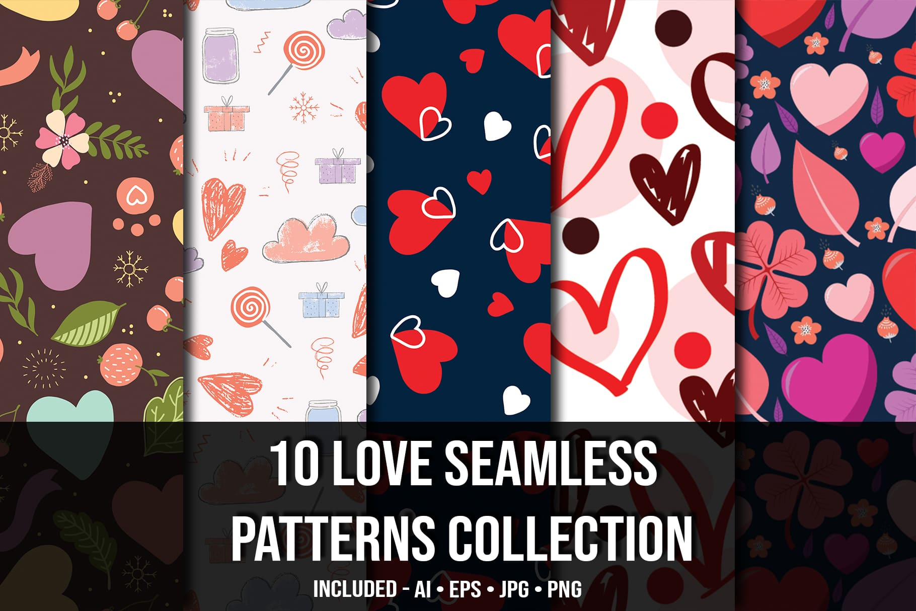Main image.Love Seamless Patterns Collection.