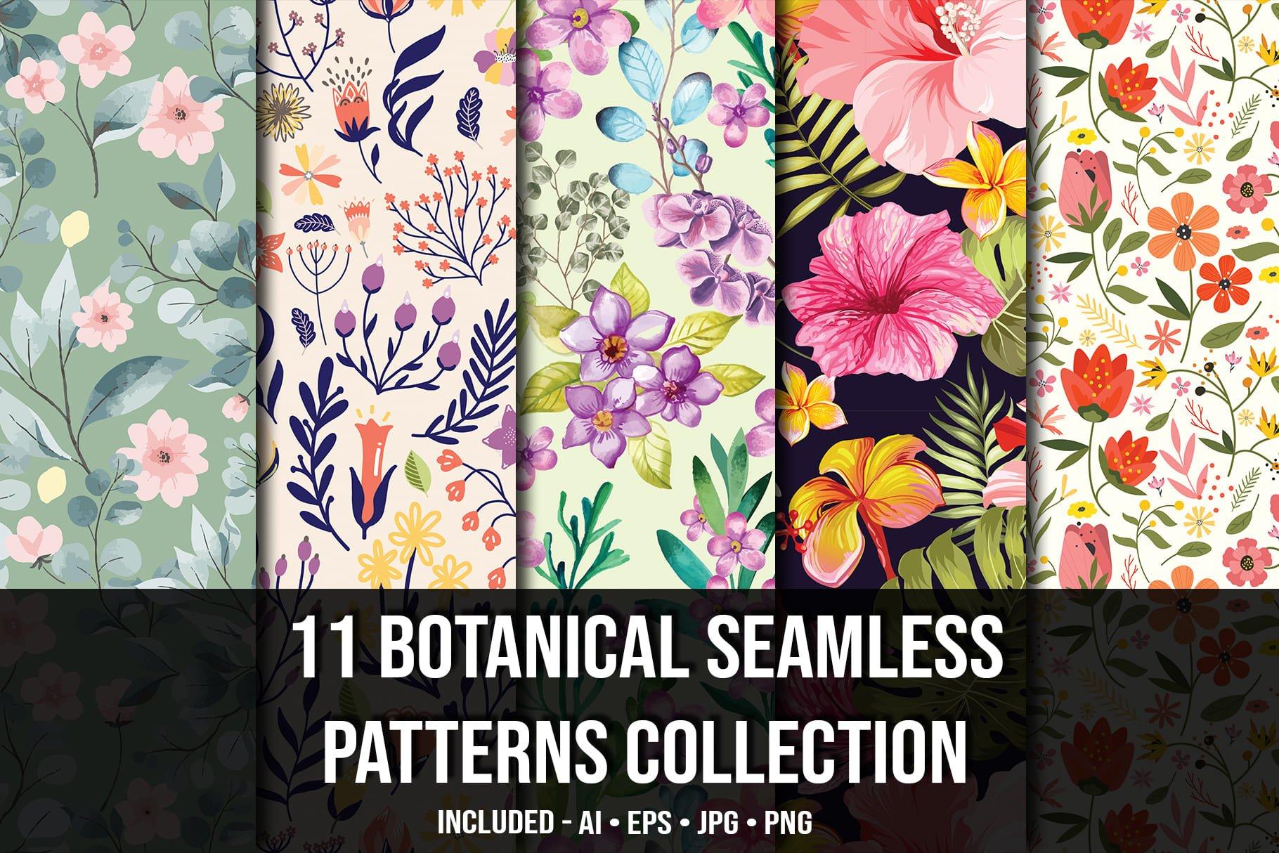 Main image.Botanical Seamless Pattern Collection.