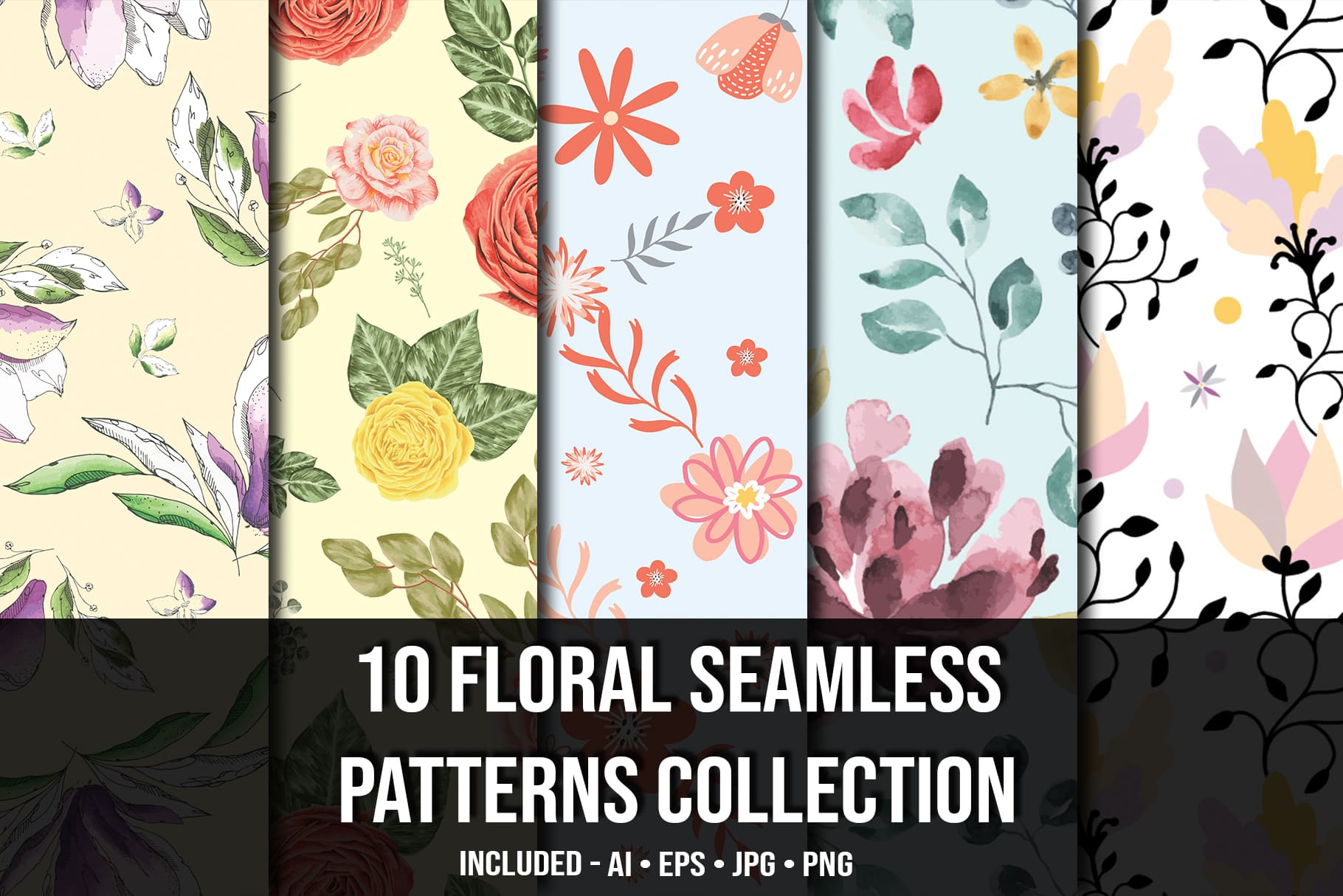 Main picture.Floral Seamless Patterns Collection.