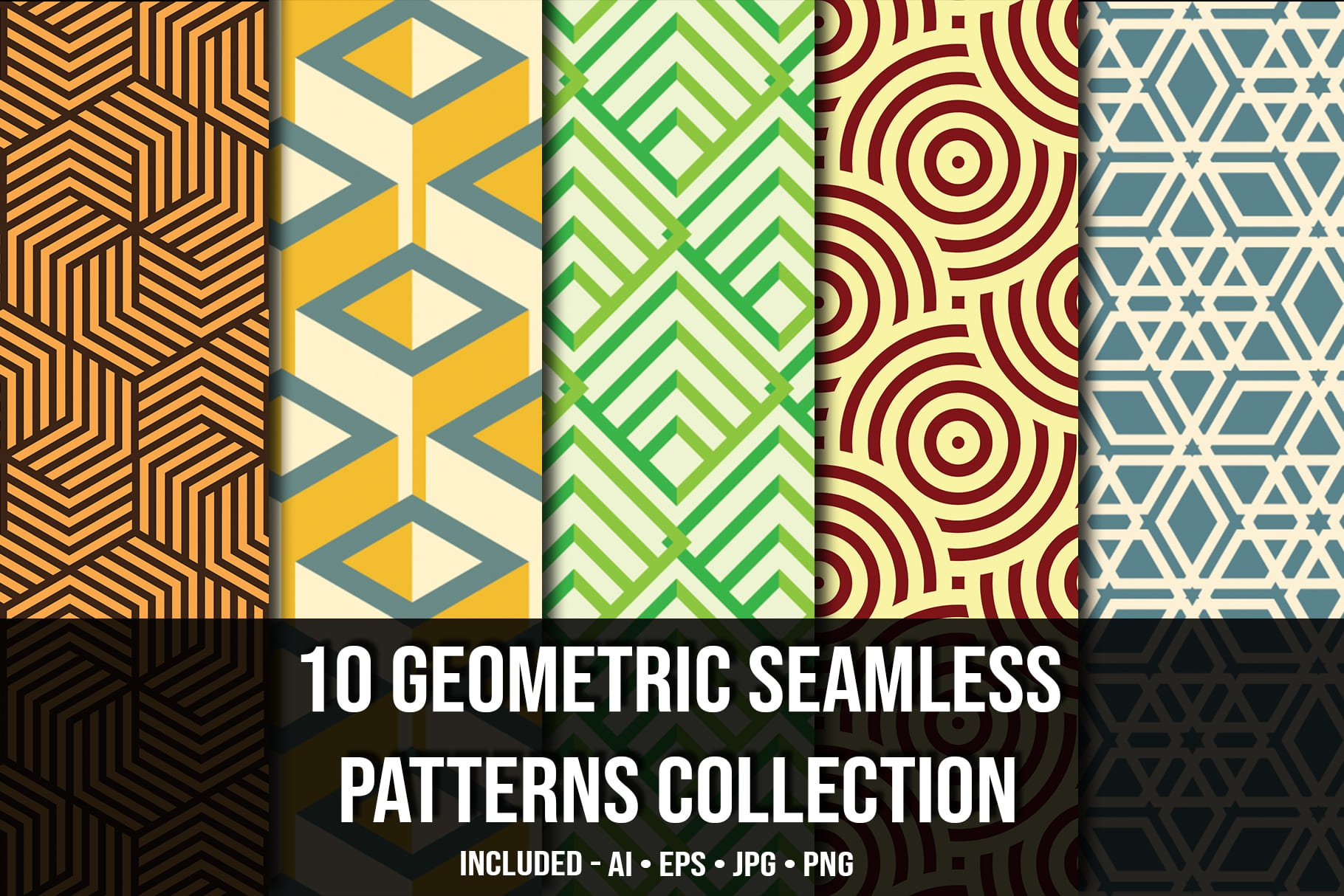 Main image.Geometric Seamless Patterns Collection.