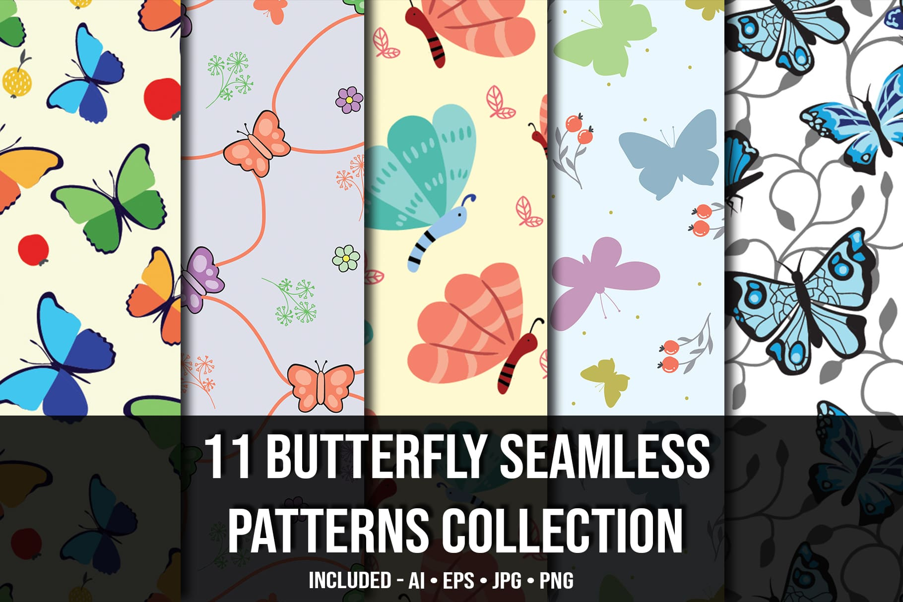 Main image.Butterfly Seamless Patterns Collection.