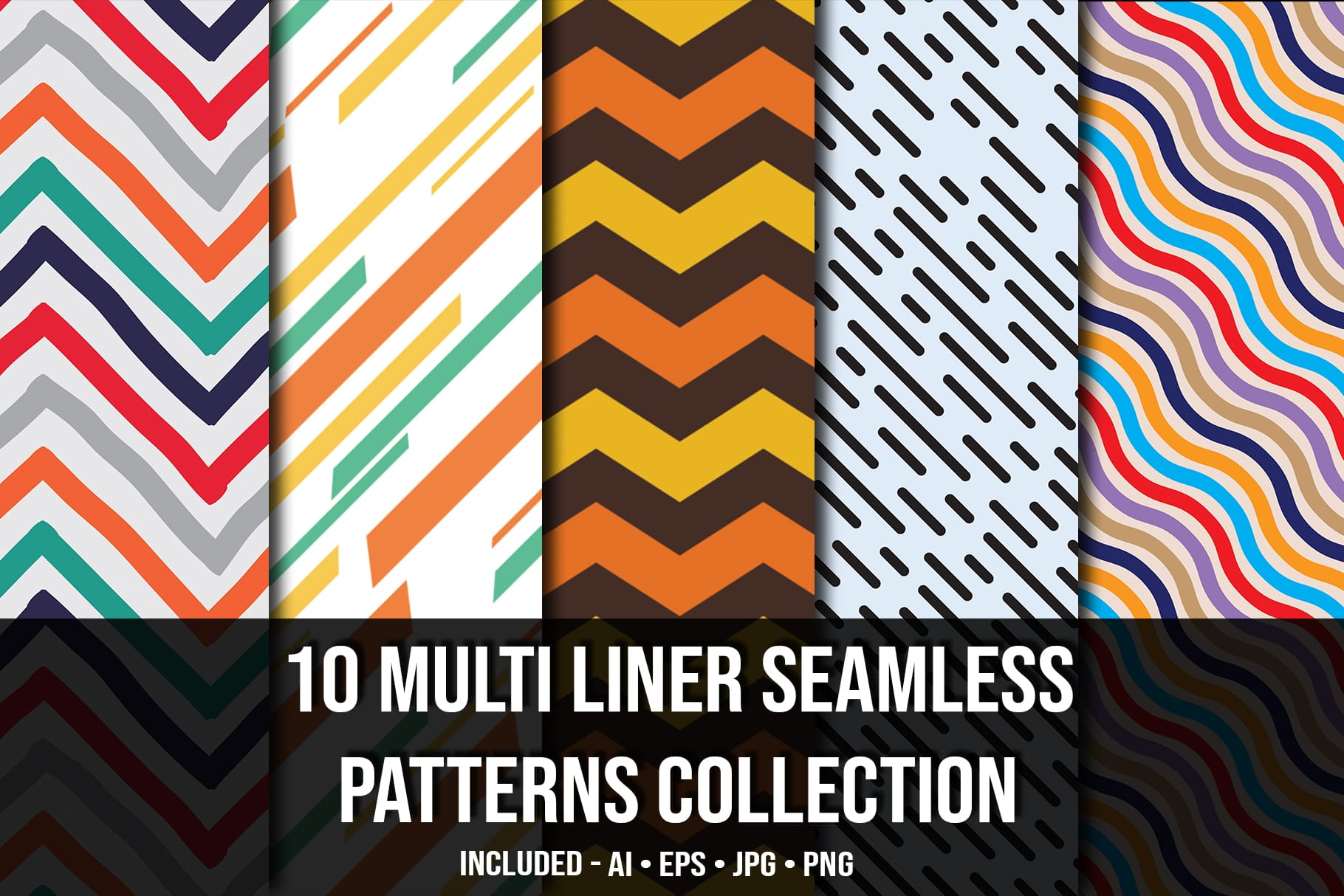 Main image.Multi Liner Seamless Patterns Collection.