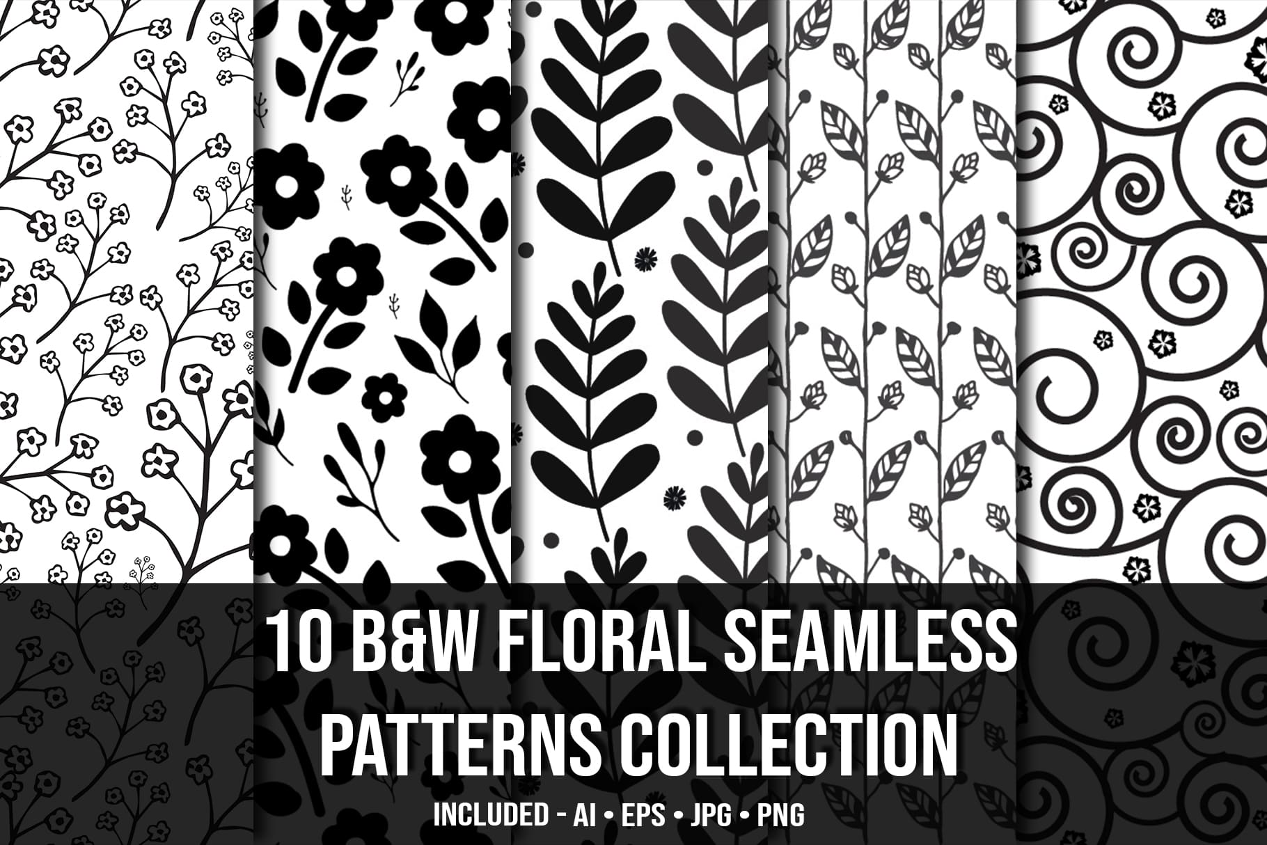 Main image.Black & White Floral Seamless Patterns Collection.