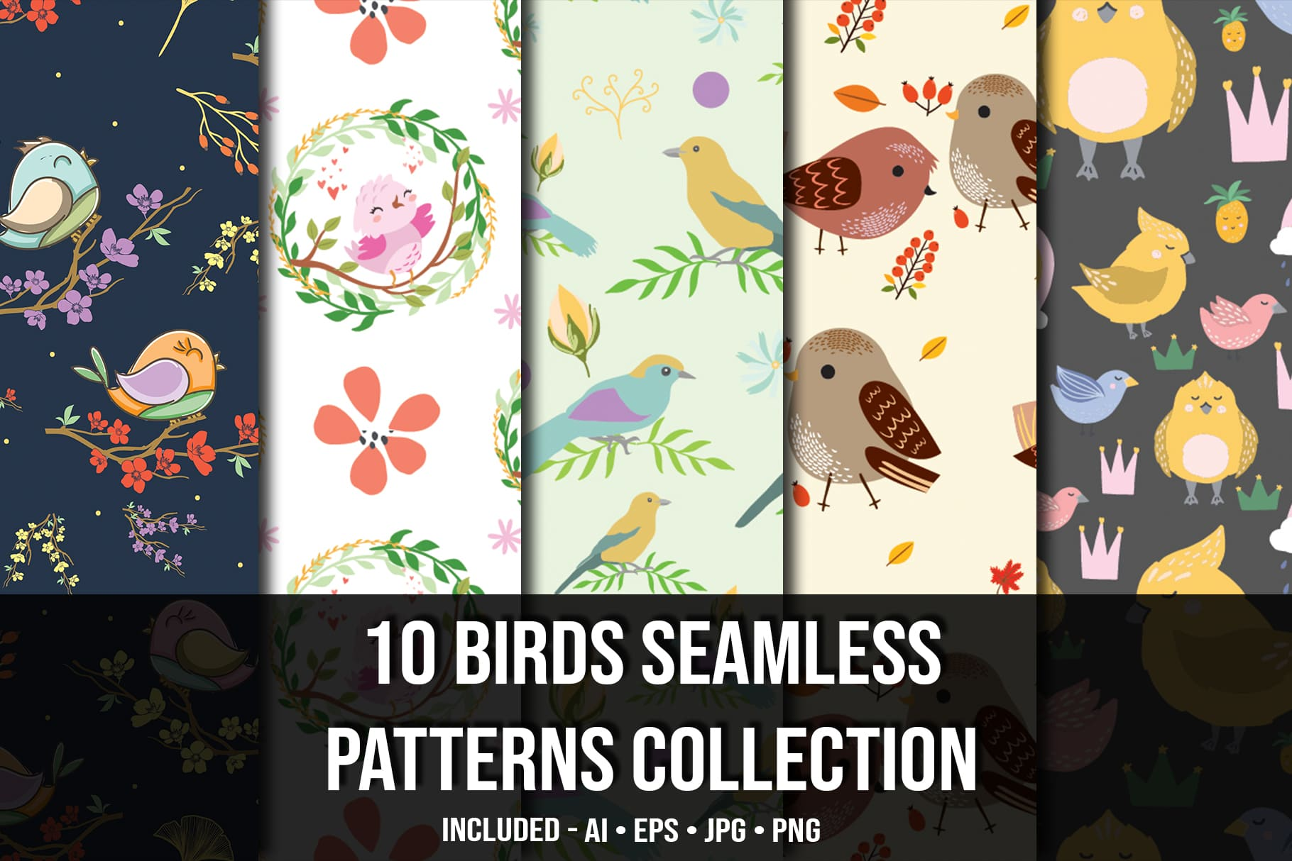 Main image.Birds Seamless Patterns Collection.