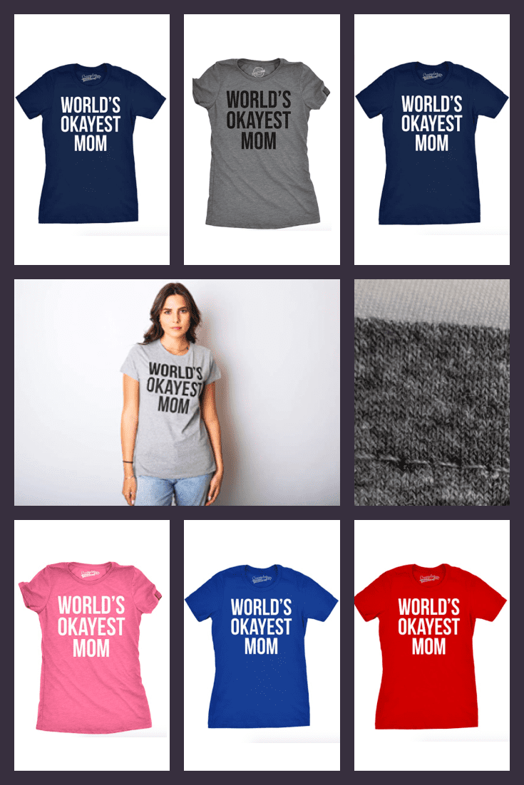 T-shirts of different colors with an inscription about mom.