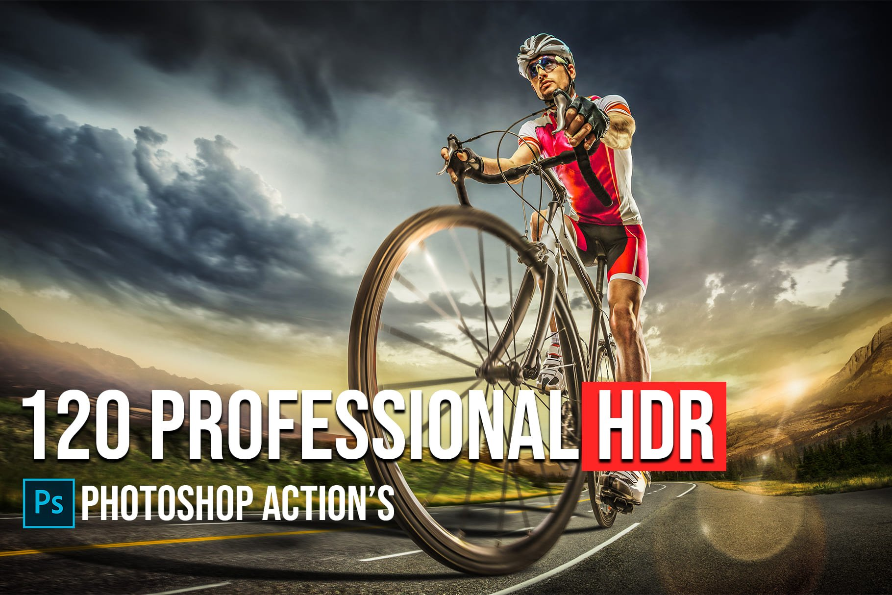 Main image.120+ Professional HDR Photoshop Actions Collection.
