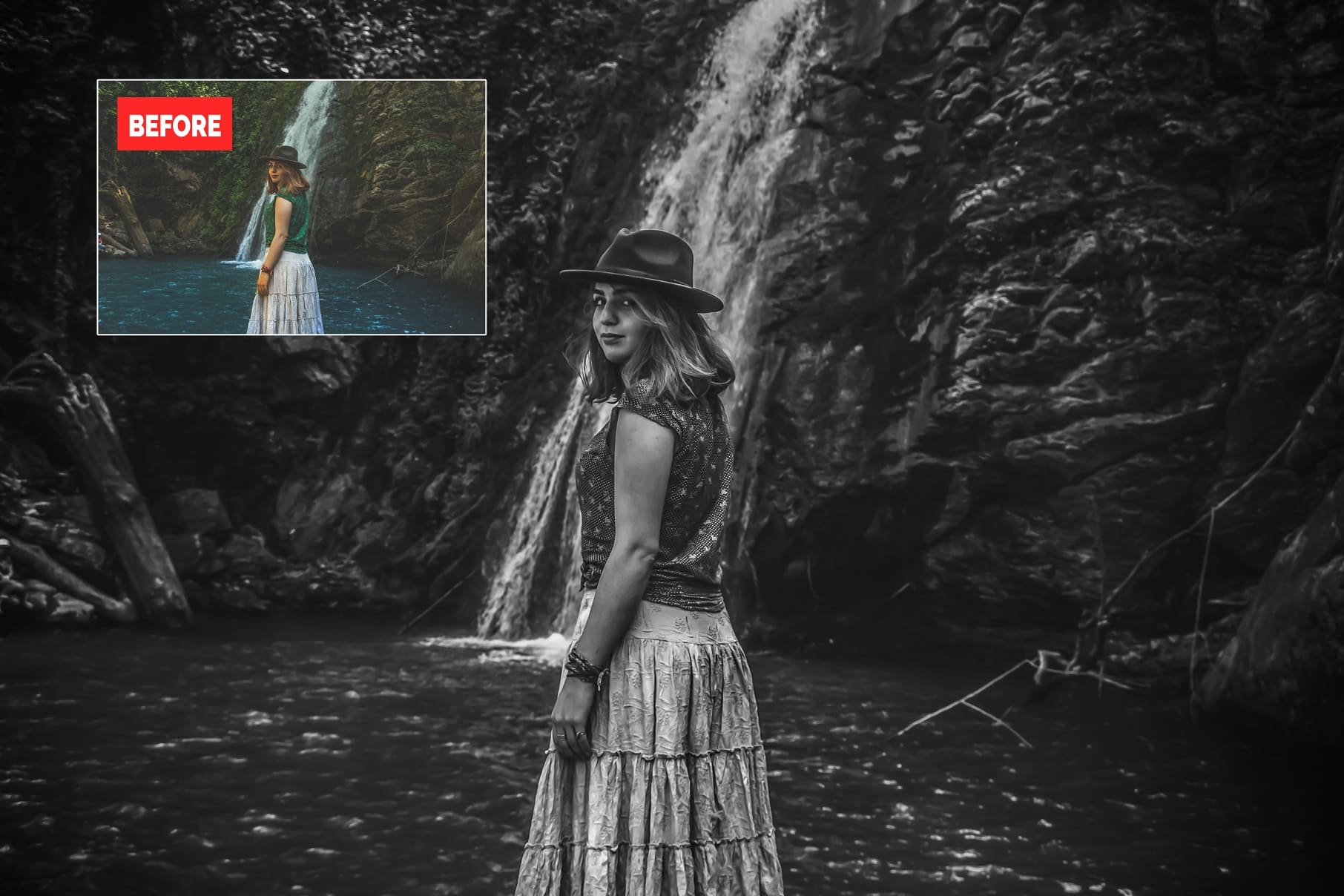 Girl near the waterfall. Black and white photography. 120+ Professional HDR Photoshop Actions Collection.
