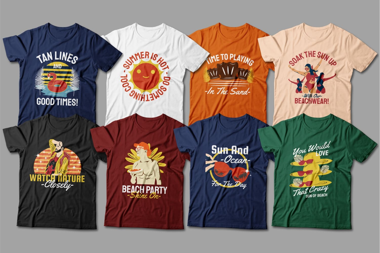 Summer T-shirts with the image of the attributes of summer holidays.