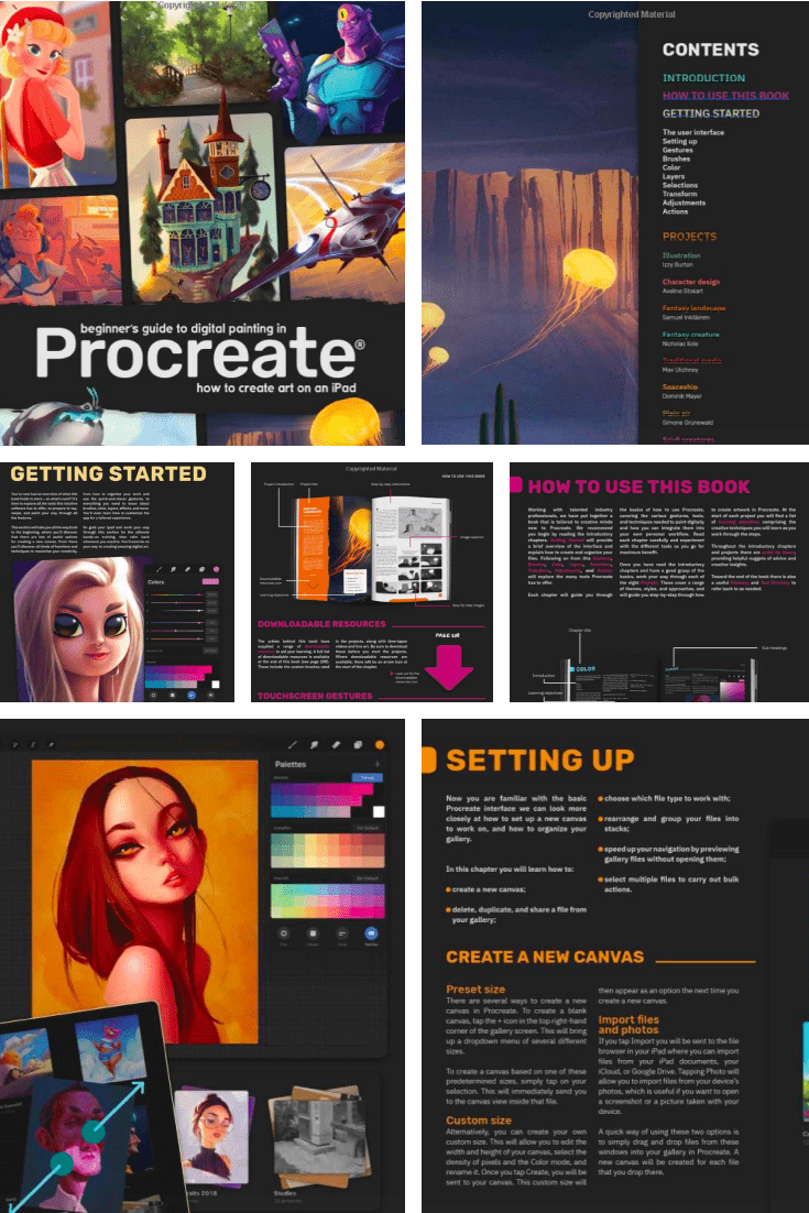 Beginner's Guide to Digital Painting in Procreate: How to Create Art on an iPad. Cover Collage.