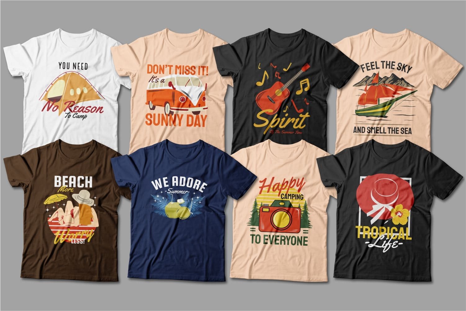 Summer T-shirts featuring travel and summer clothing attributes.
